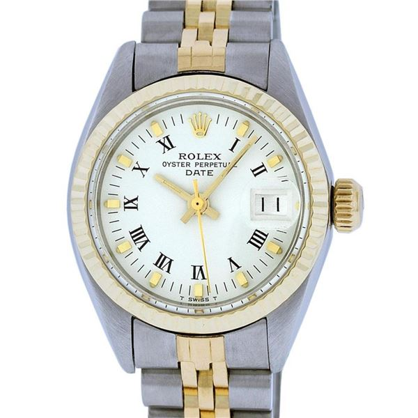 Rolex Ladies 2 Tone White Index 26MM Fluted Bezel Oyster Perpetual Datejust