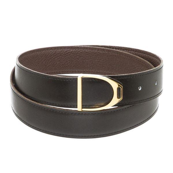 Hermes Vintage Black Brown Togo Leather Etrier Belt 85