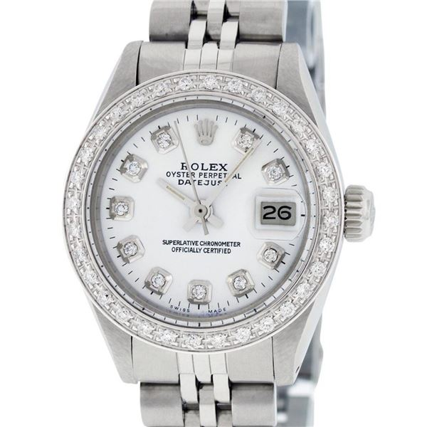 Rolex Ladies Stainless Steel White Diamond 26MM Oyster Perpetual Datejust Wristw