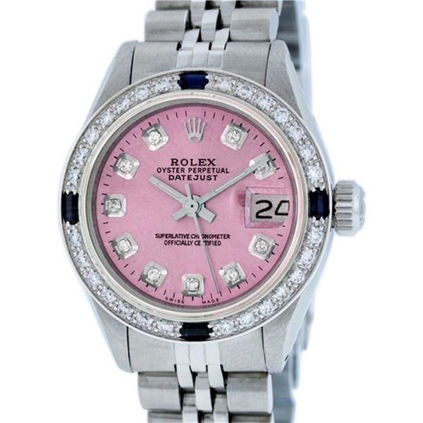Rolex Ladies Stainless Steel Pink Diamond & Sapphire Oyster Perpetaul Datejust W