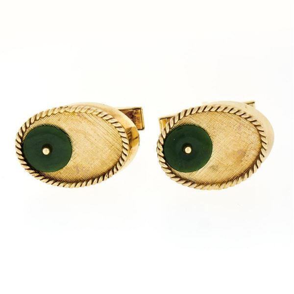 Vintage Men's 14K Yellow Gold Jade Disc Oval Florentine Twisted Wire Cufflinks