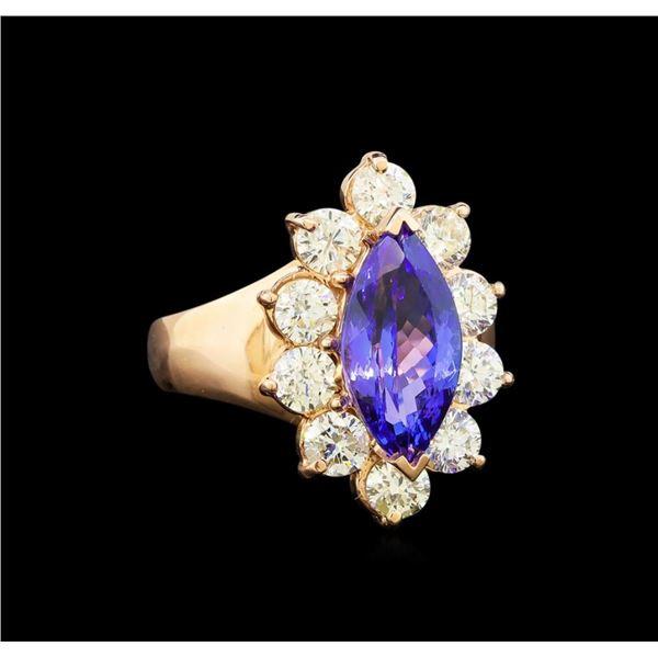 14KT Rose Gold 3.48 ctw Tanzanite and Diamond Ring