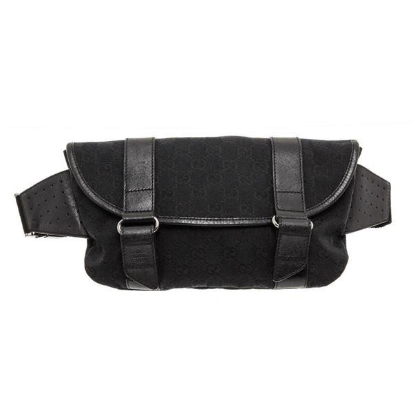 Gucci Black GG Canvas Leather Waist Bag