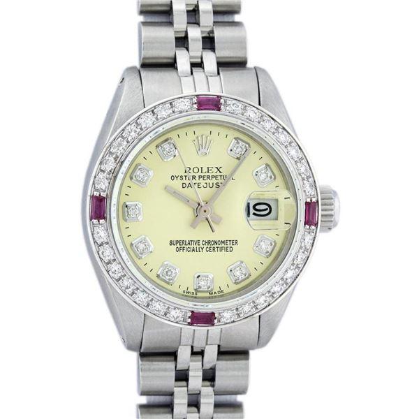 Rolex Ladies Stainless Steel Yellow Diamond & Ruby 26MM Datejust Wristwatch