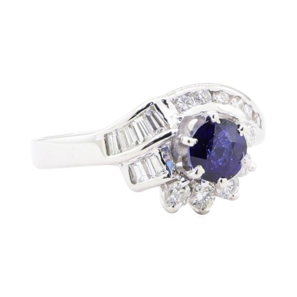 1.13 ctw Sapphire and Diamond Ring - 14KT White Gold