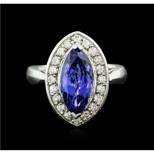 14KT White Gold 4.01 ctw Tanzanite and Diamond Ring