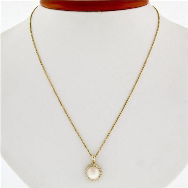 """14k Yellow Gold 3.65mm Pearl Solitaire 0.25 ctw Diamond Halo 16"""" Pendant Necklac"""
