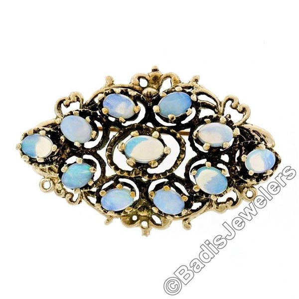 Vintage 14kt Yellow Gold Open Work Oval Cut Opal Marquise Brooch Pendant