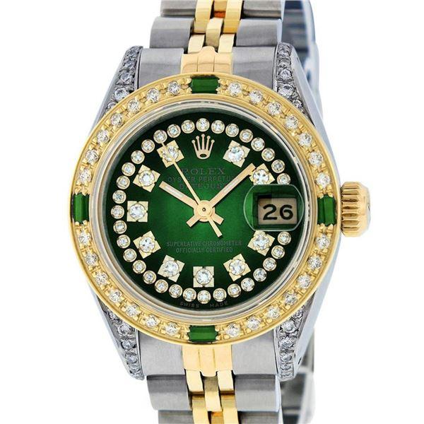 Rolex Ladies 2 Tone Green Vignette Diamond Lugs & Emerald Datejust Wriswatch