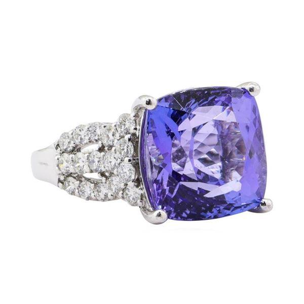 13.62 ctw Tanzanite and Diamond Ring - Platinum