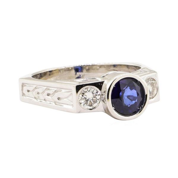 1.60 ctw Blue Sapphire And Diamond Ring - 14KT White Gold