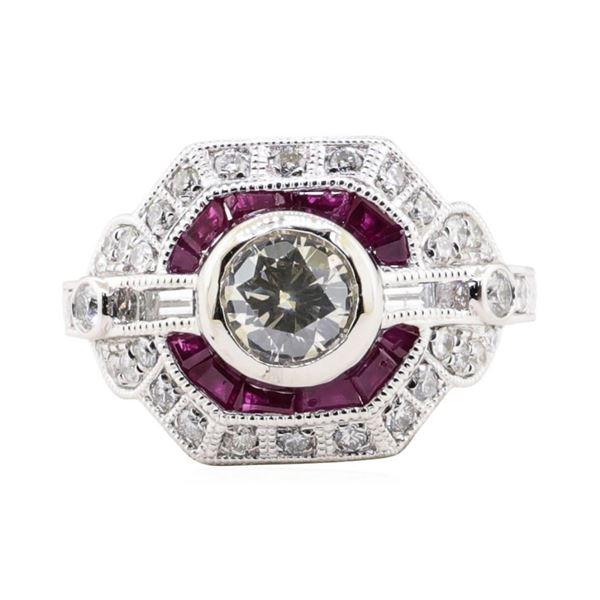 2.24 ctw Diamond and Ruby Ring - Platinum