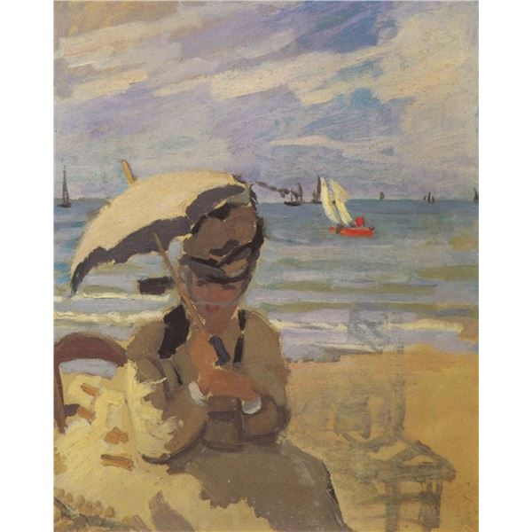Claude Monet - Camille Monet on the Beach at Trouville