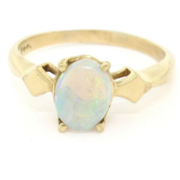Vintage 14K Yellow Gold 0.65 ctw Petite Oval Cabochon Opal Solitaire Ring Size 6