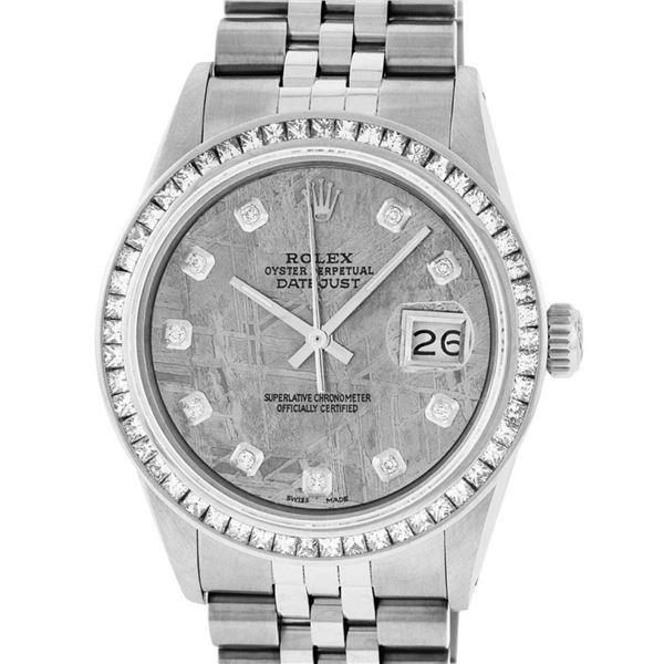 Rolex Mens SS Meteorite Diamond Princess Cut 36MM Oyster Datejust Wristwatch