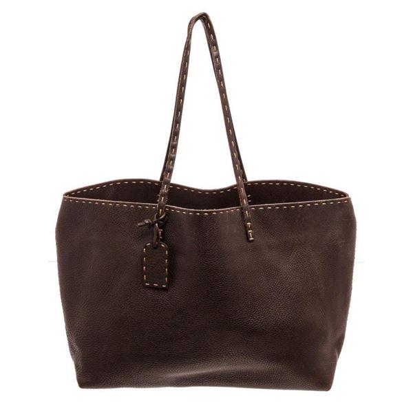 Fendi Black Selleria Leather Tote Bag