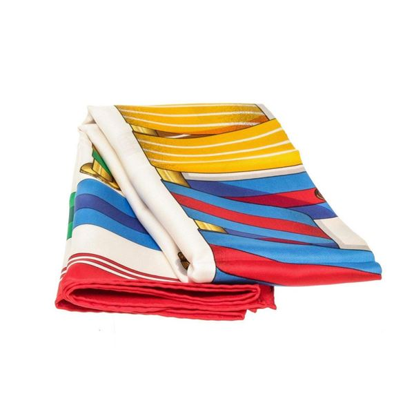 Hermes Red Multicolor Silk Scarf