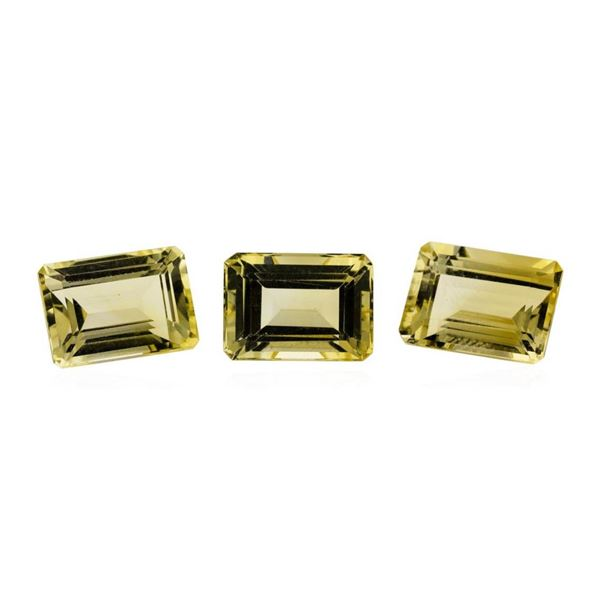 25.06 ctw.Natural Emerald Cut Citrine Quartz Parcel of Three