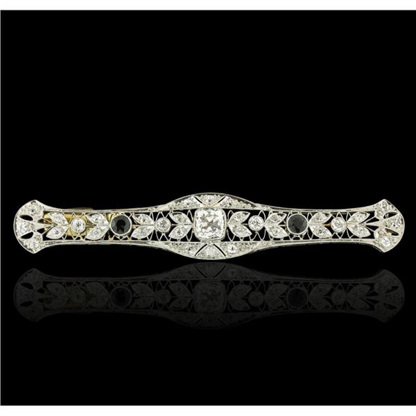 18KT White Gold 0.60 ctw Sapphire and Diamond Brooch