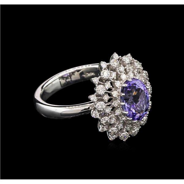 2.18 ctw Tanzanite and Diamond Ring - 14KT White Gold