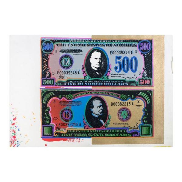 500 and 1000 Dollar Bills by Steve Kaufman (1960-2010)