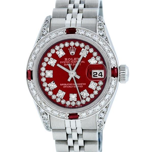Rolex Ladies Stainless Steel 26MM Red Diamond Lugs 26MM Datejust Wristwatch