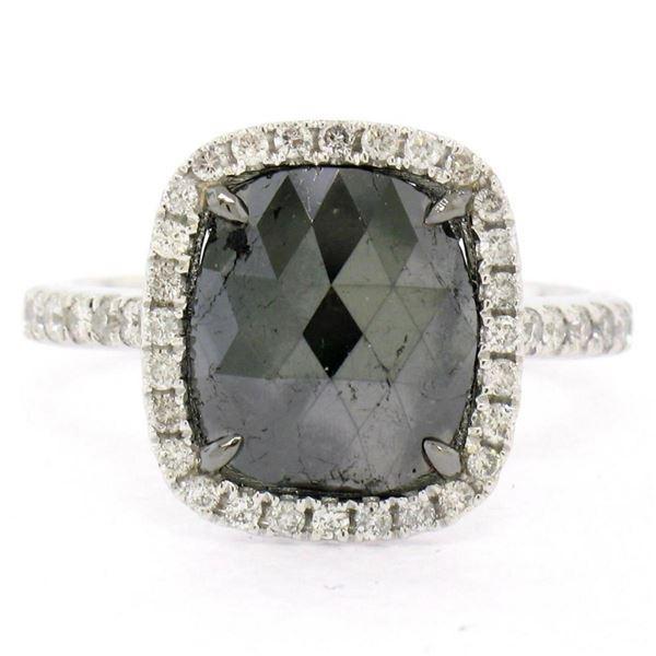 14K White Gold 3.12 ctw Checkerboard Cushion Cut Black & White Diamond Halo Ring