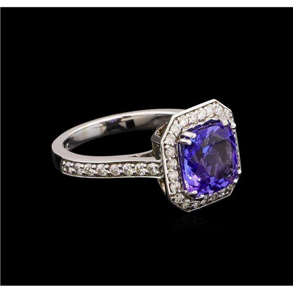 2.95 ctw Tanzanite and Diamond Ring - 14KT White Gold