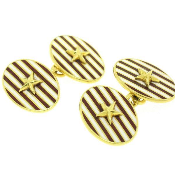 Estate Asprey 18k Solid Gold Collectible Red White Enamel Stripe Star Cufflinks