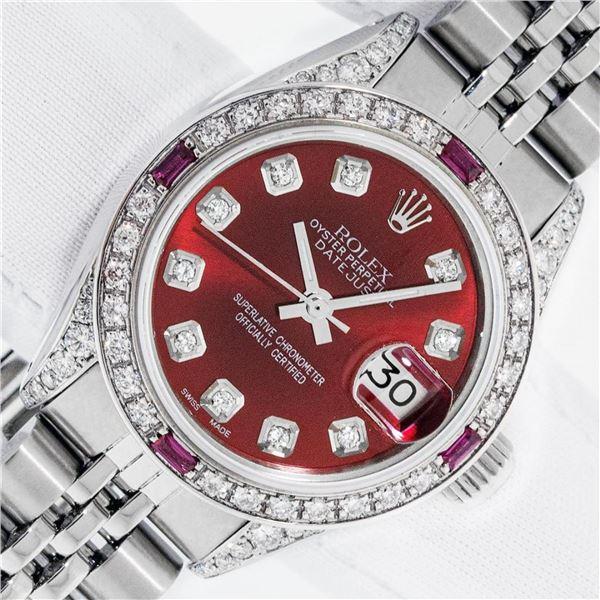 Rolex Ladies Stainless Steel Diamond Lugs & Ruby Datejust Wristwatch With Rolex