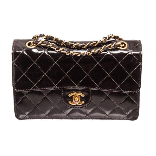 Chanel Black Patent Leather Small Flap Shoulder Bag