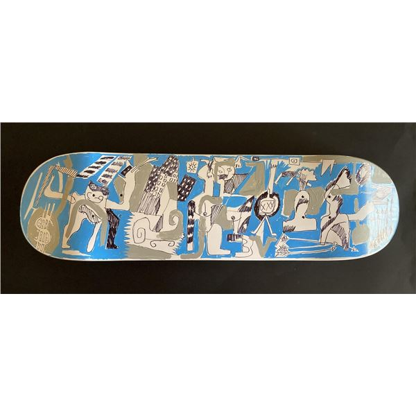 """Handpainted skateboard """"Grey Compliments Blue Period"""" by Gino Perez"""