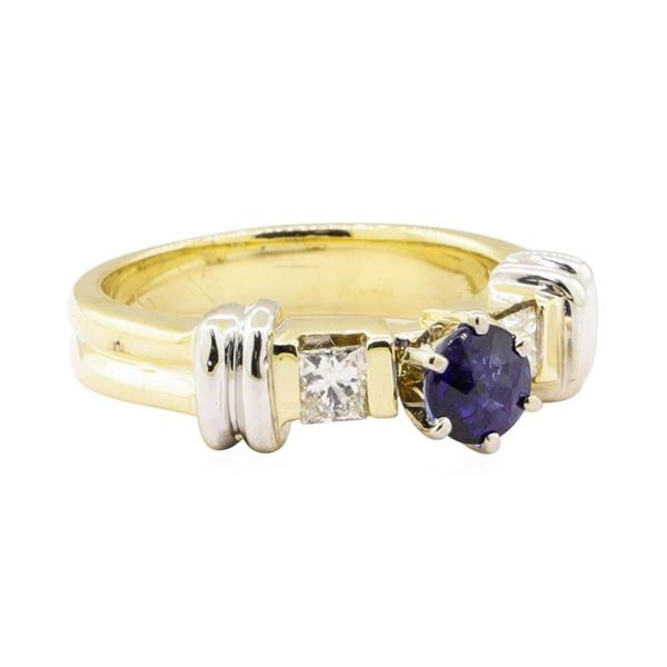 1.16 ctw Blue Sapphire and Diamond Ring - 14KT Yellow and White Gold