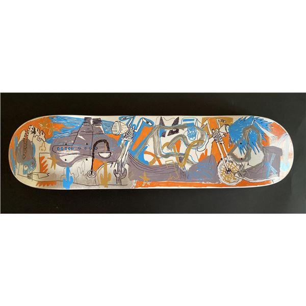 "Handpainted skateboard ""New Life"" by Gino Perez"