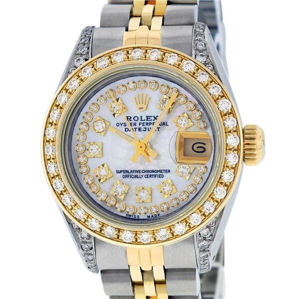 Rolex Ladies 2 Tone Mother Of Pearl Diamond Lugs 26MM Datejust Wriswatch