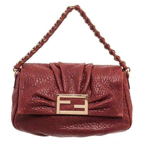 Fendi Burgundy Leather Mamma Baguette Shoulder Bag