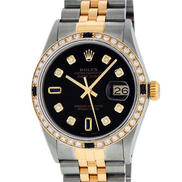 Rolex Mens 2 Tone Black Diamond & Sapphire Oyster Perpetual Datejust Wristwatch
