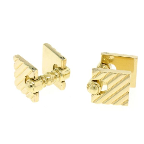 Authentic Cartier Men's 14K Yellow Gold Double Hinged Square Ribbed Cuff Links