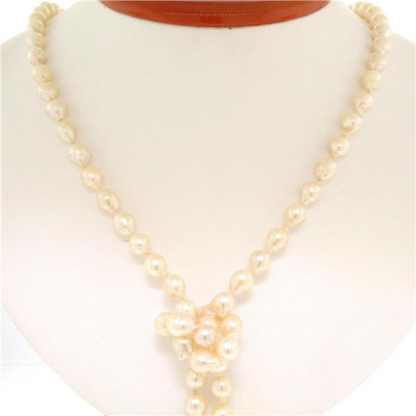 """Estate 38"""" Long 6.5-7mm Natural Pearl Strand Lariat Necklace w/ Dual 14K Tassels"""