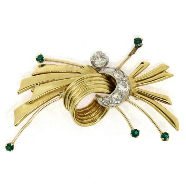 Vintage 18k TT Gold 0.73 ctw Old Cut Round Diamond Emerald Knot Bundle Brooch Pi
