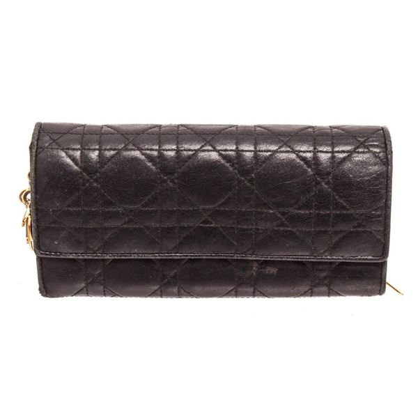 Christian Dior Black Leather Wallet On Chain