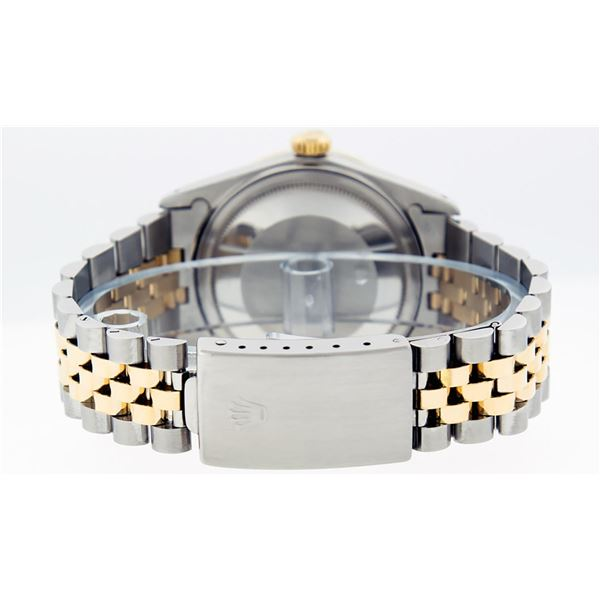Rolex Mens 2 Tone Mother Of Pearl String Diamond & Ruby Datejust Wristwatch