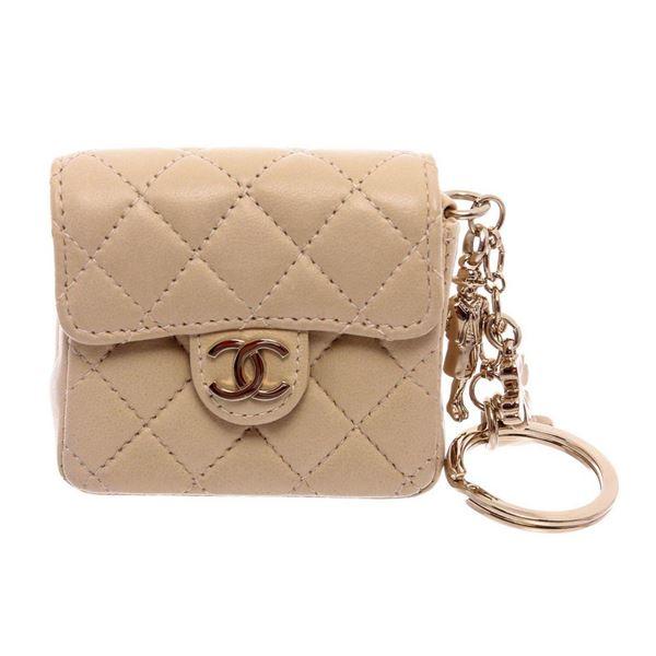 Chanel Beige Leather CC Mademoiselle Mini Flap Charm Key Ring