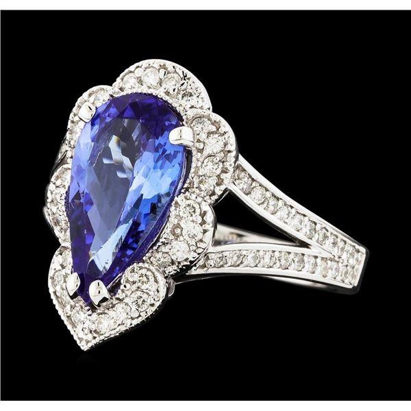 2.75 ctw Tanzanite and Diamond Ring - 14KT White Gold