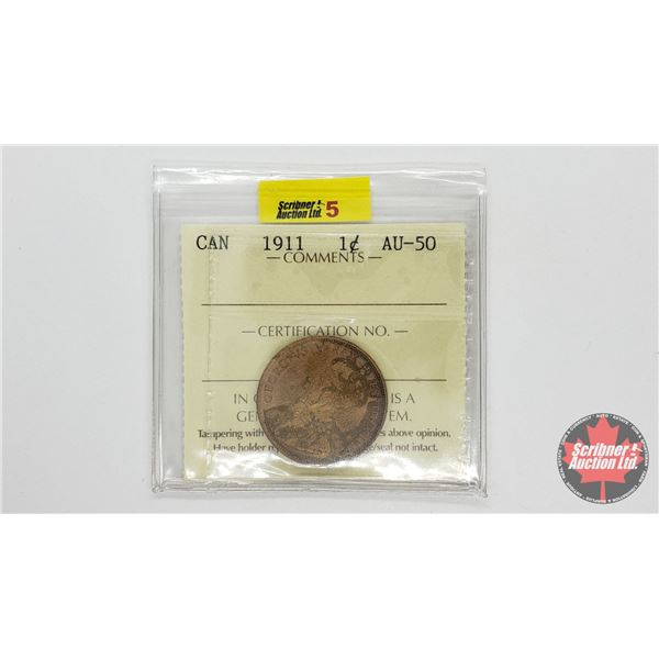 Canada Large Cent 1911 (ICCS Cert: AU50)