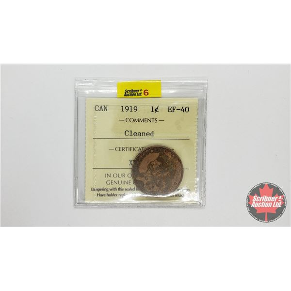 """Canada Large Cent 1919 """"Cleaned"""" (ICCS Cert: EF-40)"""