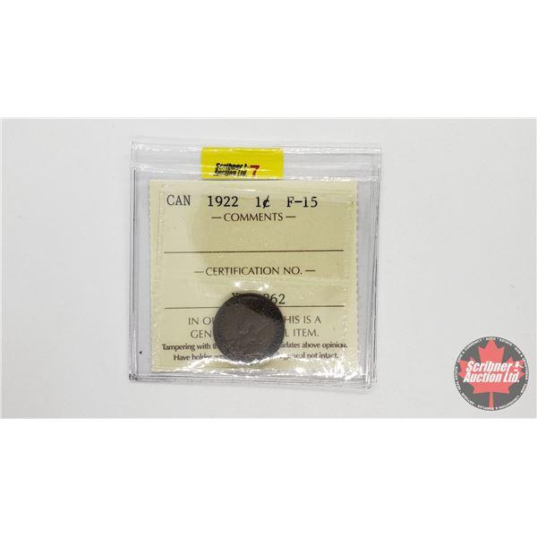Canada One Cent 1922 (ICCS Cert: F-15)