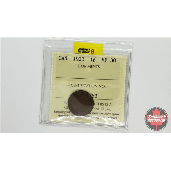 Canada One Cent 1923 (ICCS Cert: VF-30)