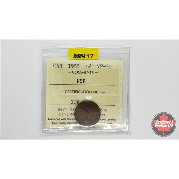 Canada One Cent 1955 NSF (ICCS Cert: VF-30)