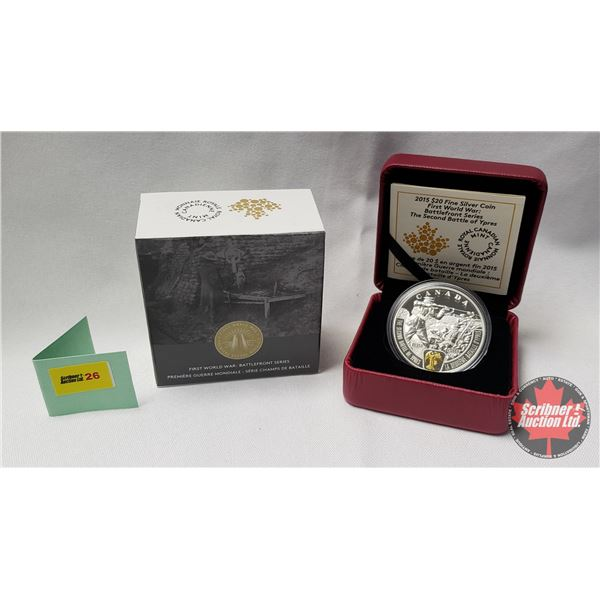 """RCM 2015 $20 Fine Silver Coin """"First World War: Battlefront Series The Second Battle of Ypres"""" (99.9"""